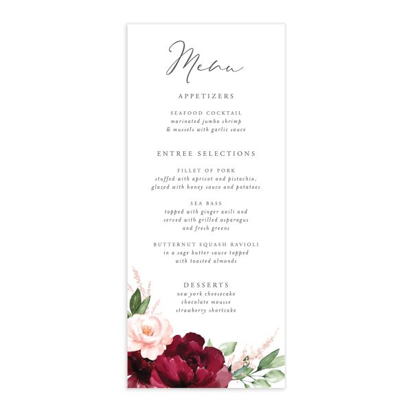 Beloved Floral Menus in red