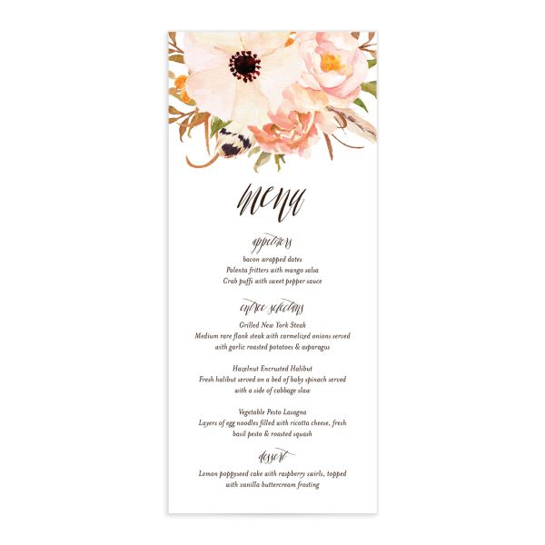 bohemian floral wedding menus in peach