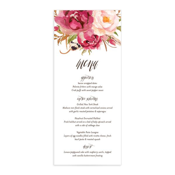 bohemian floral wedding menus in pink