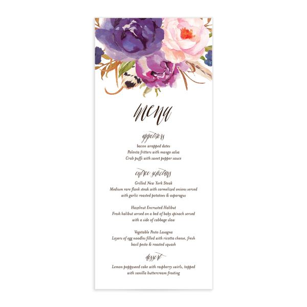 bohemian floral menus in purple