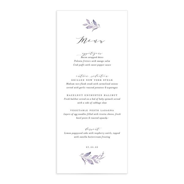 classic greenery menus in purple
