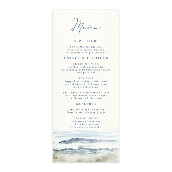 Coastal Love menus front in blue