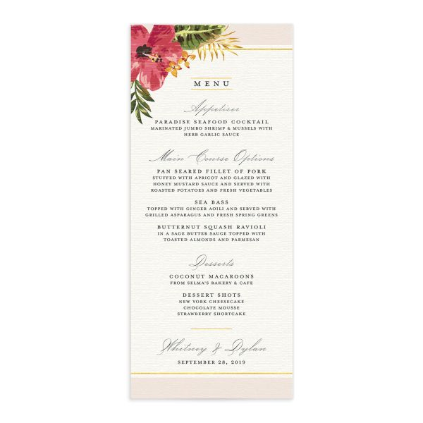 elegant paradise wedding menu in pink
