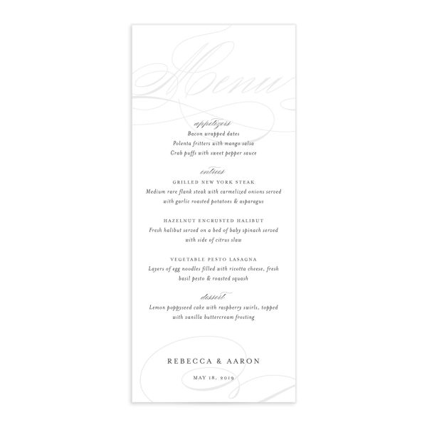 elegantly initialed menus