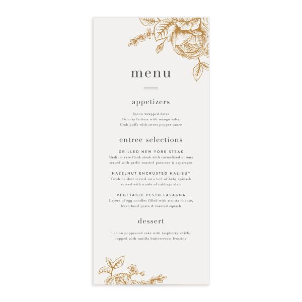 etched botanical menus