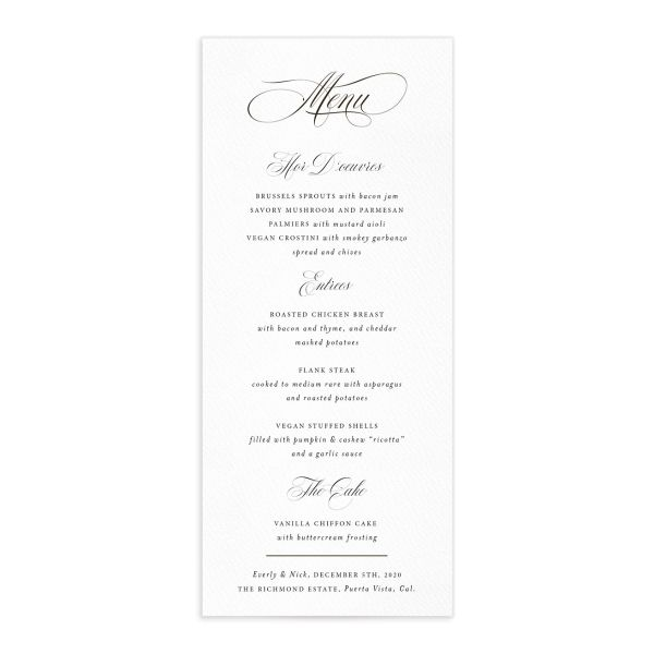 exquisite calligraphy wedding menus