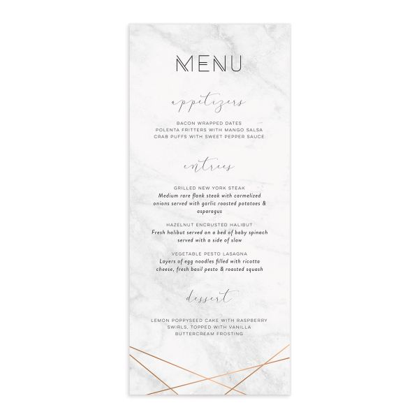 geometric modern wedding menus