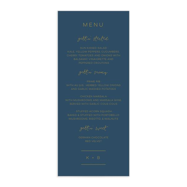 Modern Calligraphy Menus in blue front