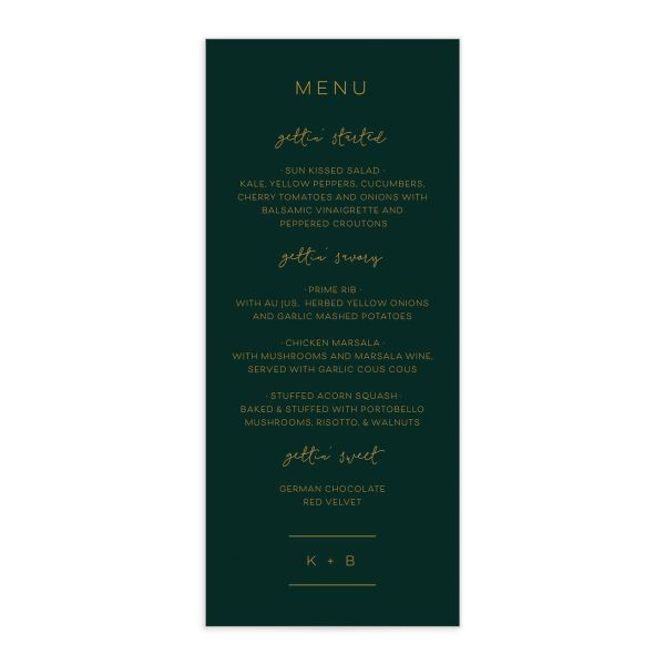 Modern Calligraphy Menus in green front