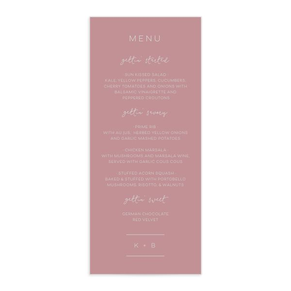 Modern Calligraphy Menus in pink front