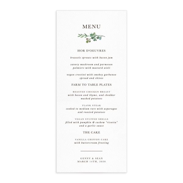 Leafy Hoops wedding menus front closeup