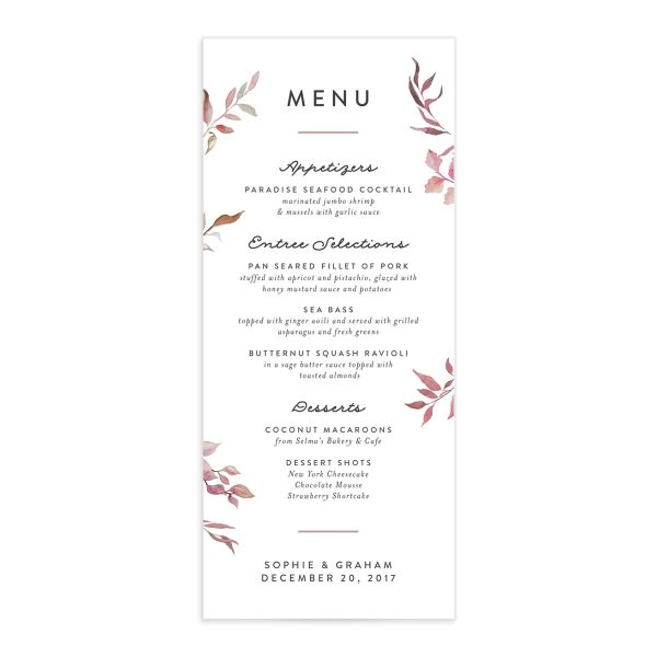 leafy ampersand menus in purple