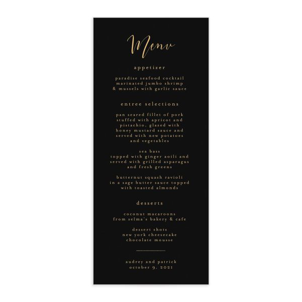 Marble and Gold Menus in black