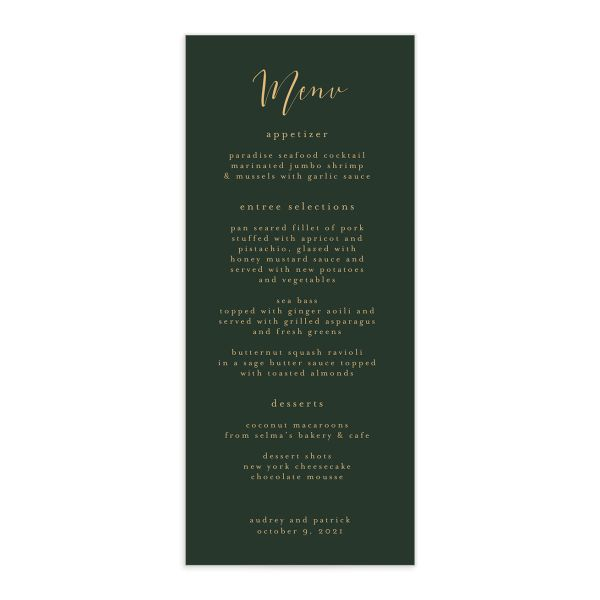 Marble and Gold Menus in green