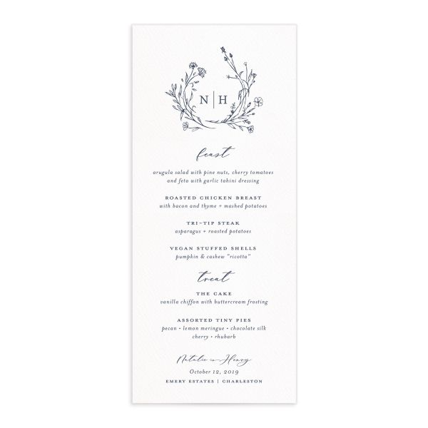 Natural Monogram wedding menu fronts in blue