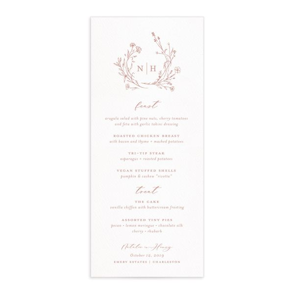 Natural Monogram wedding menu fronts in pink