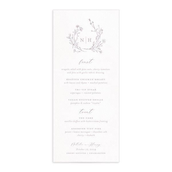 Natural Monogram wedding menu fronts in purple