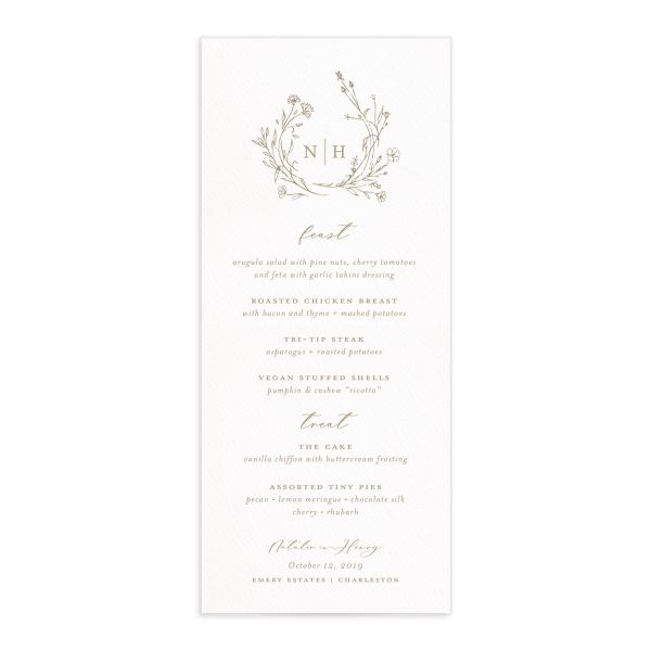 Natural Monogram wedding menu fronts in tan