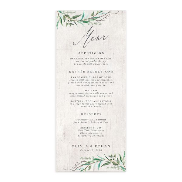 Natural Laurel menu