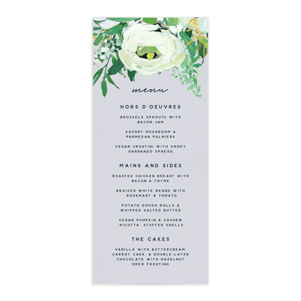 Painted Greenery Menus front in blue