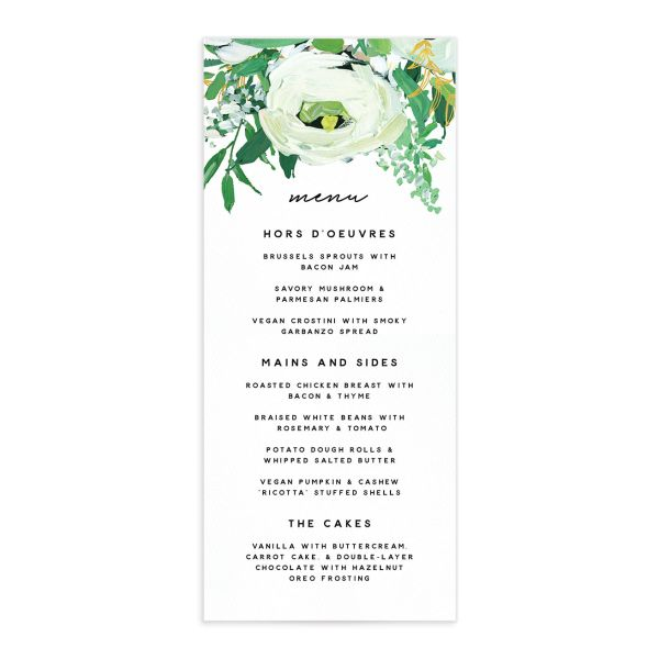 Painted Greenery Menus front in white