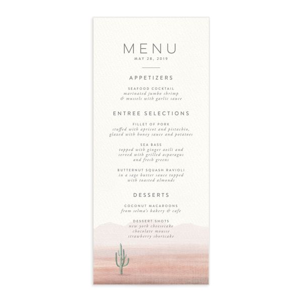 painted desert wedding menus in pink