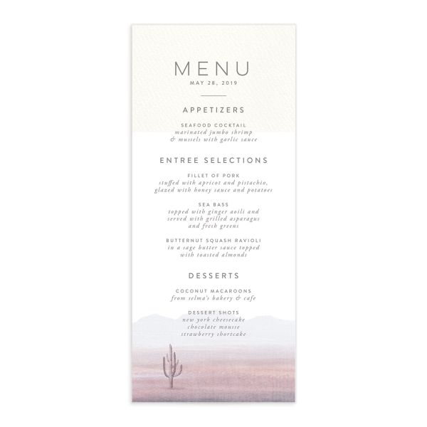 painted desert wedding menus in purple