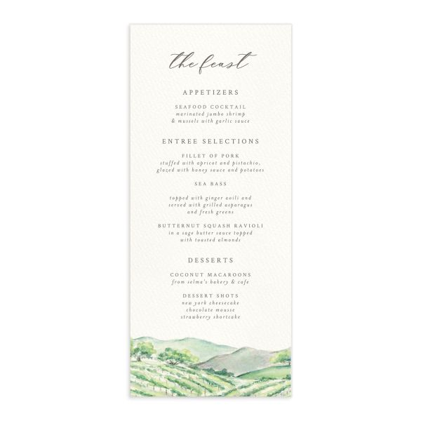 Painted Winery wedding menu