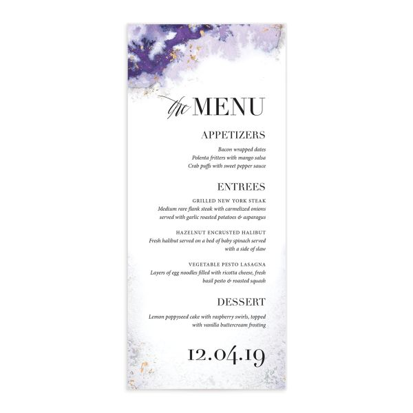 painted greenery wedding menus in purple