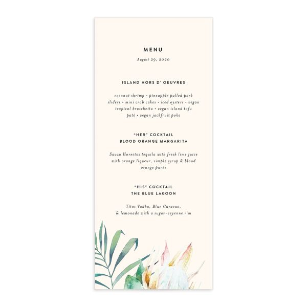 Palm and Protea wedding menus front