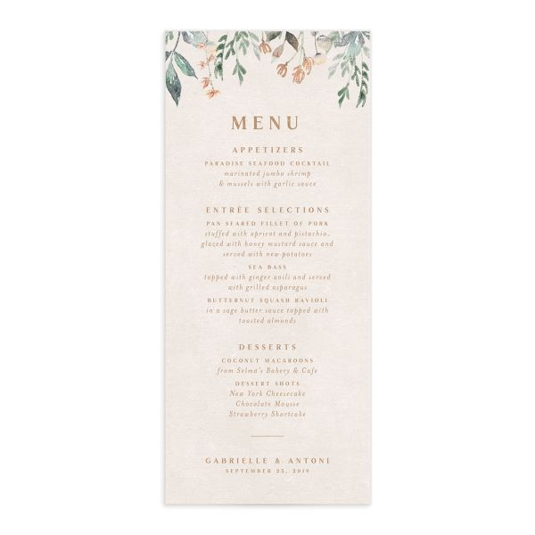Rustic Vines menu