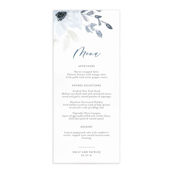 Shades of Blue Wedding Menus