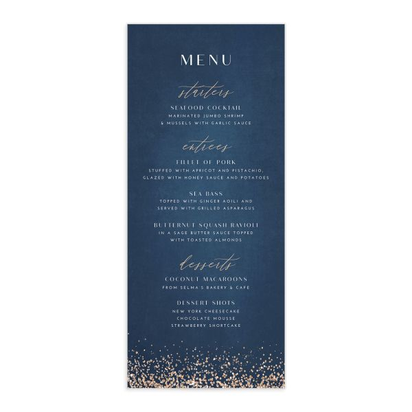 Sparkling Romance wedding menu