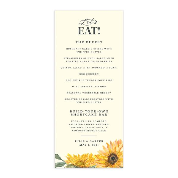 sunflower menus