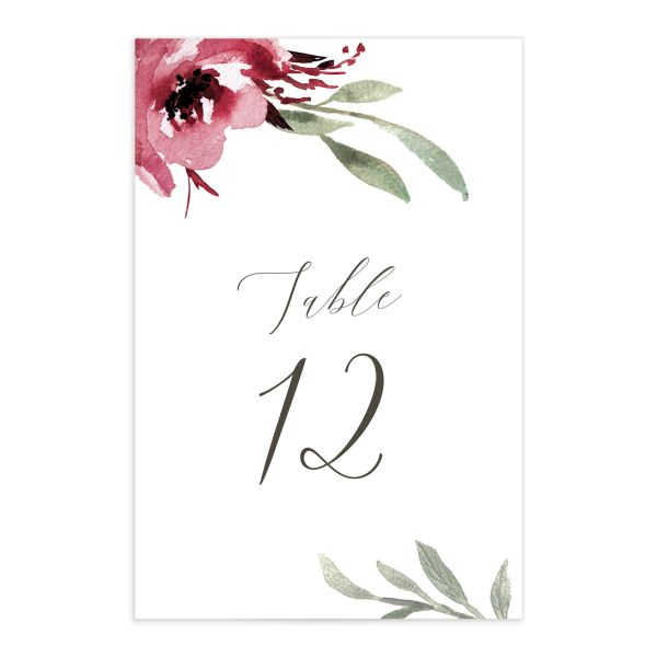 muted floral table numbers in burgundy