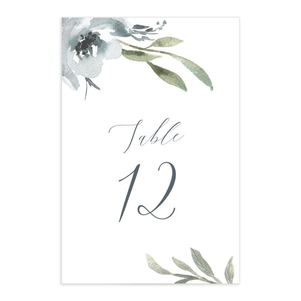 muted floral table numbers in dusty blue