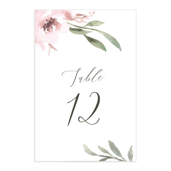 muted floral table numbers in blush pink