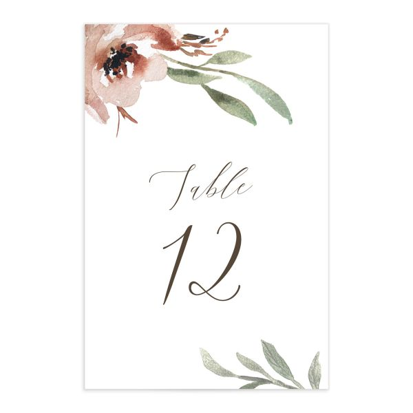 muted floral table numbers in copper