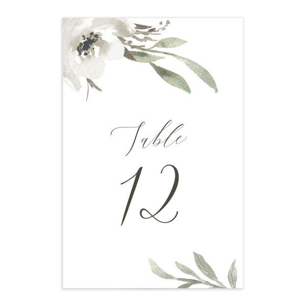 muted floral table numbers in white