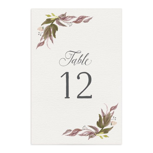 leafy wreath table numbers in purple
