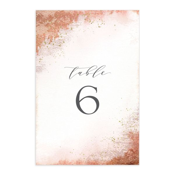 organic luxe wedding table numbers in orange