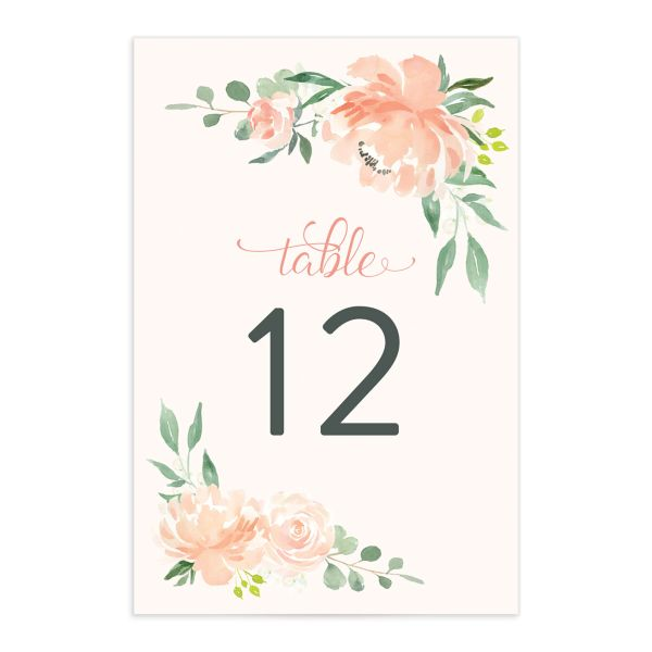 Romantic Floral Table Numbers