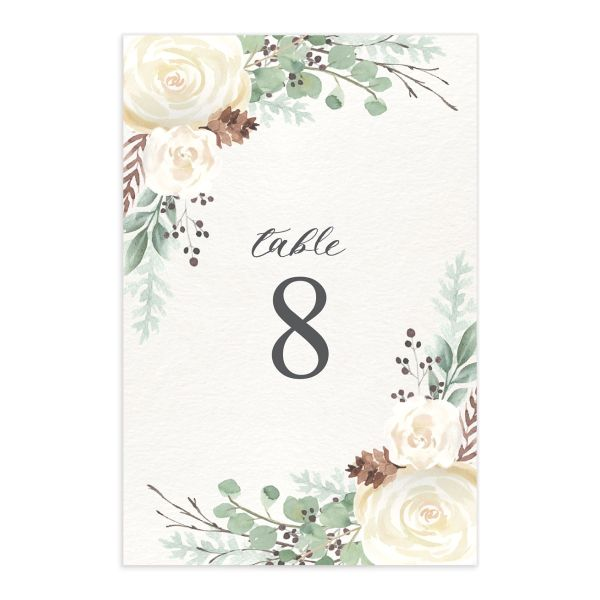 Rustic Botanical Wedding Table Numbers