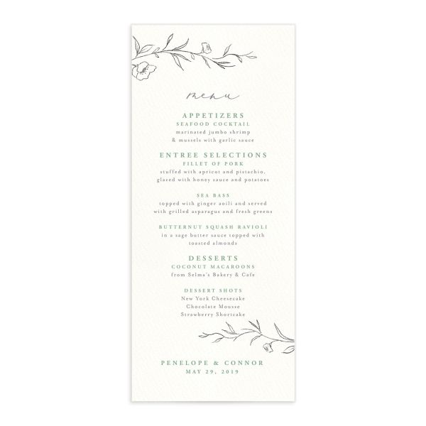 graceful botanical wedding menus in green