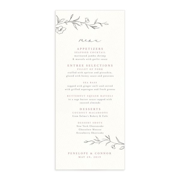 graceful botanical wedding menus in pink