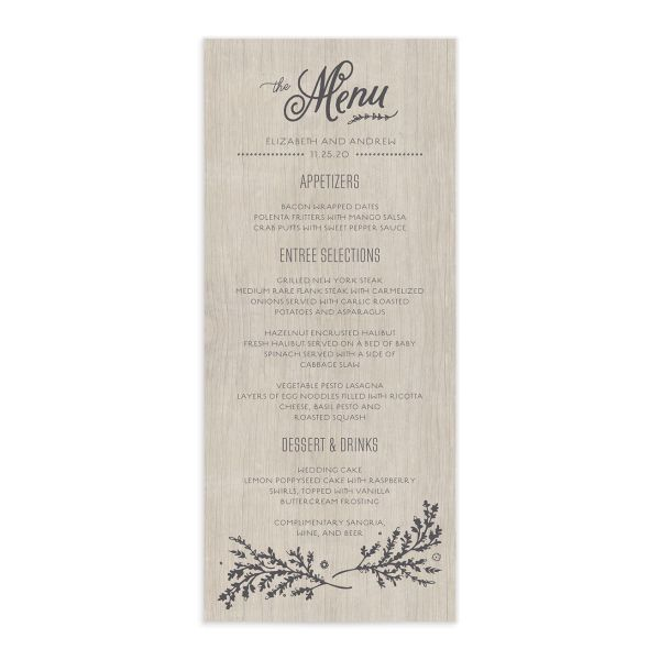 rustic chic menus in grey