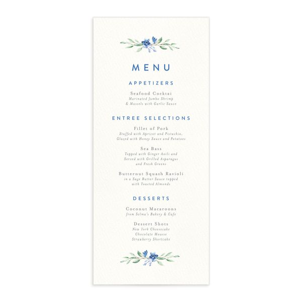 watercolor crest wedding menus in blue