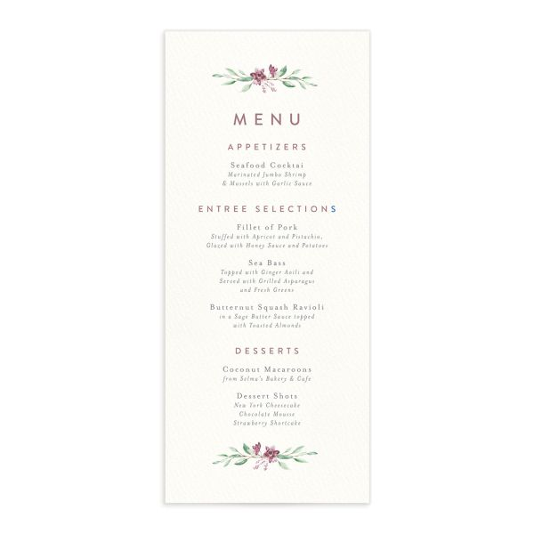 watercolor crest wedding menus in pink