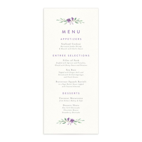 watercolor crest wedding menus in purple