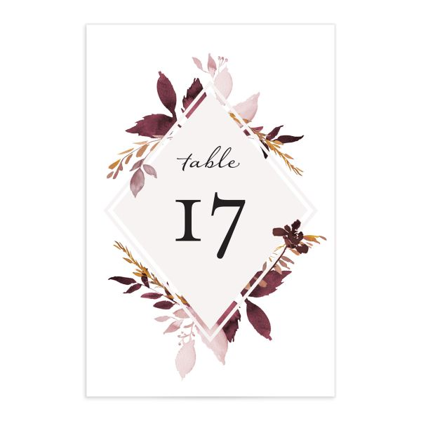 Leafy frame wedding table numbers in burgundy